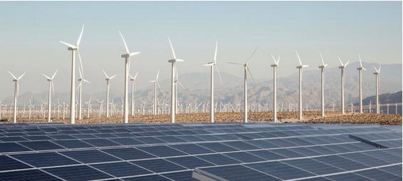 安装于平地之太阳能和风电场